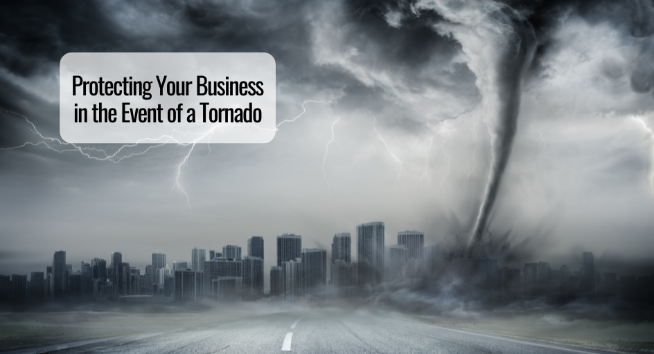 image of tornado approaching a city; commercial buildings in the skyline